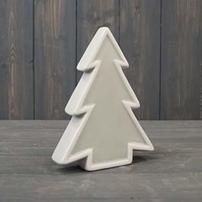 Grey ceramic Christmas tree with white edging available in two sizes and in red. This Christmas decoration is 14.4 cm tall and 10.4 cm wide.