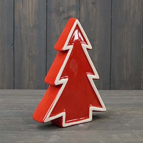 Red Ceramic Tree with White Edging
