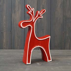 Red Ceramic Reindeer with White Edging