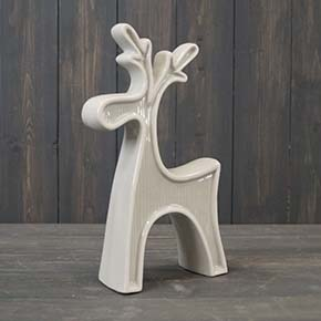 Small Grey Ceramic Reindeer with White Edging