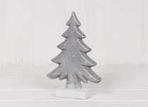 Large Grey Ceramic Tree with Snowflake Design