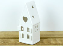 White Ceramic House Tealight Holder