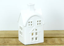 Large White Ceramic House Tealight Holder