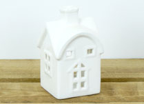 Small White Ceramic House Tealight Holder