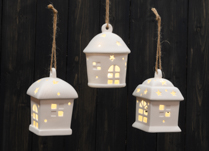 Ceramic Christmas Tree Baubles in the Shape of Houses