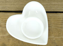 White Ceramic Heart Candle Holder
