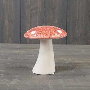 Medium Red Ceramic Mushroom