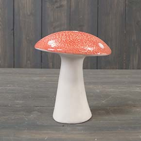 Large Red Ceramic Mushroom