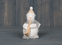 Ceramic Snowman Playing Saxophone