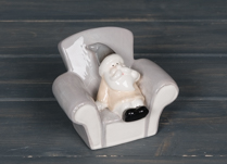 Ceramic Santa in Armchair Ornament 10 cm Tall
