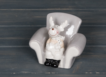 Ceramic Reindeer in Armchair Ornament 10 cm Tall