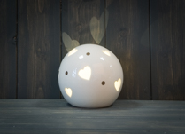 Ceramic Heart Globe LED 12 cm Diameter