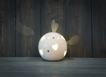 Ceramic Heart Globe LED 9 cm Tall