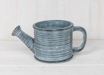 Blue Concrete Low Watering Can Planter
