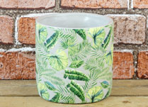 Small Cylinder Leaf Pattern Pot