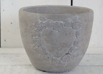 Small Cement Pot with Heart Decoration Formed by Tiny Roses