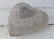 Concrete Heart with Rose Heart Design