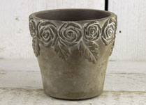 Whitewashed Stone Pot with Rose Design