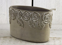 Whitewashed Oval Stone Pot with Rose Design