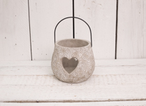 Stunning cement candle holder with heart detail!