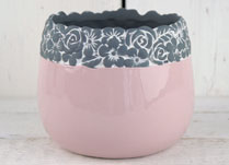 Pink Ceramic Pot with Flower Rim