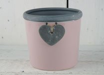 Pink Ceramic Pot with Grey Trim and Decorative Heart