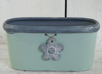 Green Ceramic Trough with Grey Trim