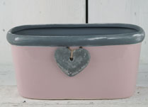 Pink Ceramic Trough with Grey Trim