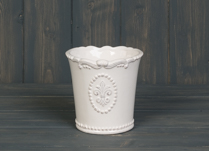 Lovely ceramic white pot with Fleur De Lis Design