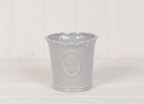 Lovely ceramic grey pot with Fleur De Lis Design