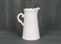 Lovely ceramic white jug with Fleur De Lis Design