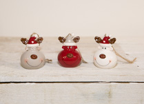 Lovely set of three ceramic Reindeer Baubles. Perfect for hanging on your Christmas Tree!