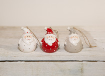 Box of Three Ceramic Santa Baubles