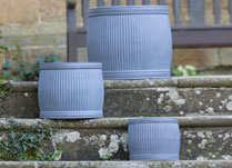 Set of Three Fibre Clay Barrels