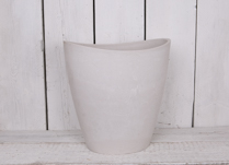 40x30cm Tall Oval Chalk White Pot Made From Recycled SPW