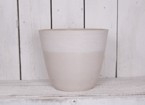 40cm Round Chalk White Pot Made From Recycled SPW