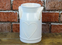 Cream Ceramic Milk Churn with Embossed Heart