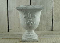 Whitewashed Stone Urn with Fleur De Lis