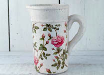 Whitewashed Concrete Jug with Pretty Rose Design