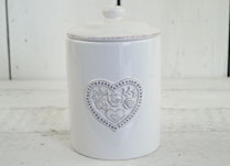 White Ceramic Storage Jar with Floral Heart Detail