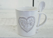White Ceramic Mug with Floral Heart Detail