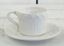 White Ribbed Ceramics with Repeat Heart Pattern