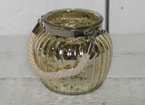 Mercury Glass Jar with Rope Handle