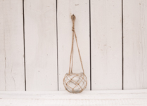 Lovely hanging glass bowl with hessian rope! Great for outdoor decoration!