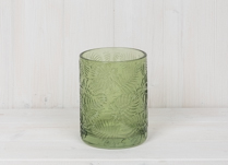 Green Glass Pot with Leaf Embossment