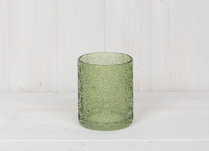 Green Embossed Glass Pot