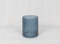 Blue Embossed Glass Pot