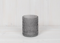 Grey Circle Embossed Glass Pot