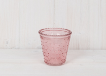 Pink Dimpled Glass Tealight Holder