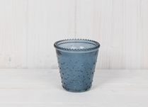 Blue Dimpled Glass Tealight Holder